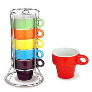 CJTO DE CANECA 50ML P/CAFE COLOR 6PCS C/SUPOR - 86532